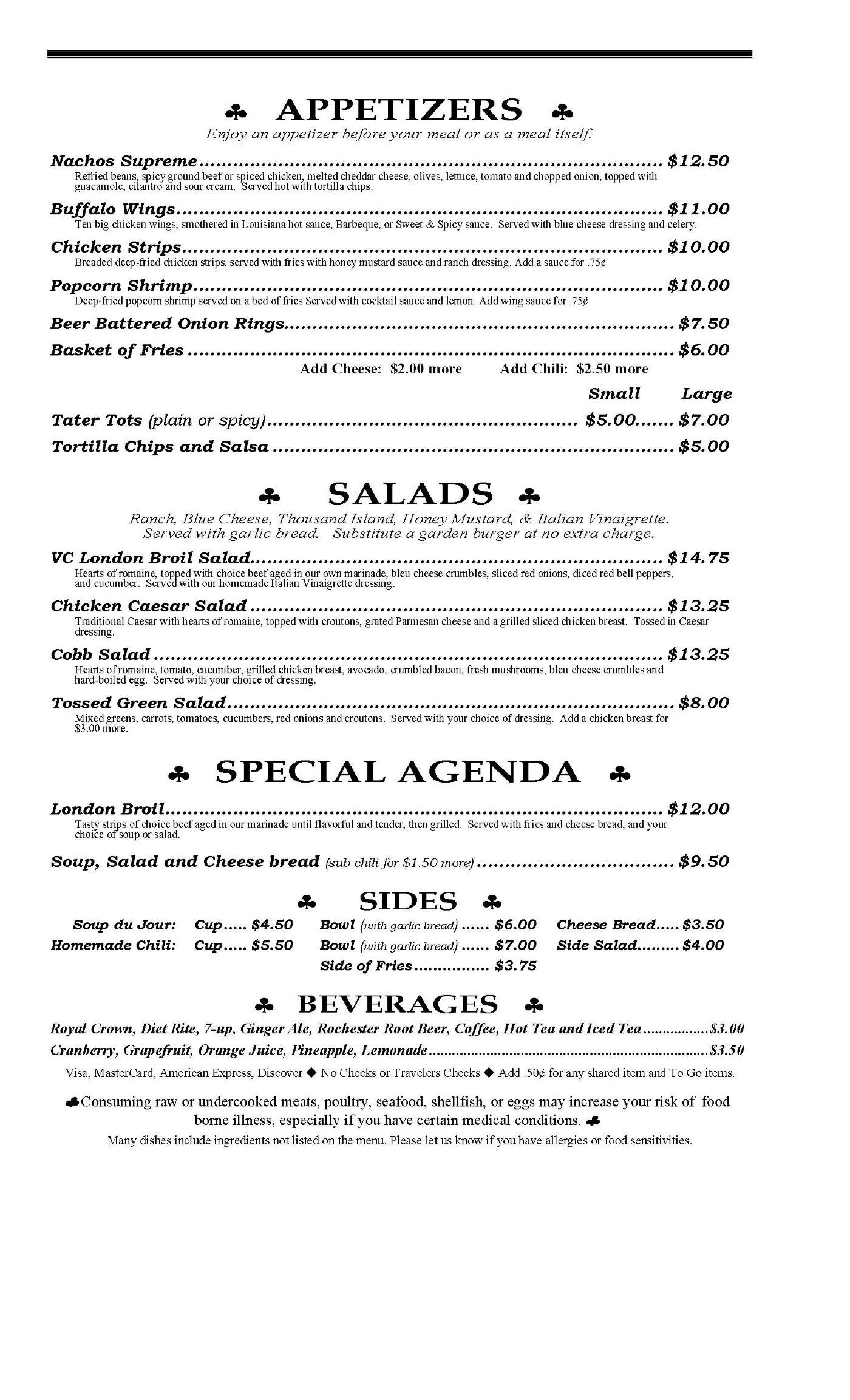 Virginia cafe menu 2019 page 1